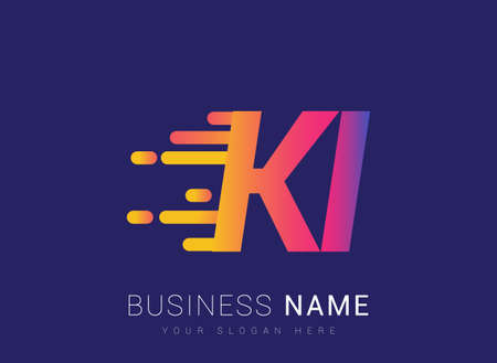 Initial Letter KI speed Logo Design template, logotype company name colored yellow, magenta and blue.for business and company identity.