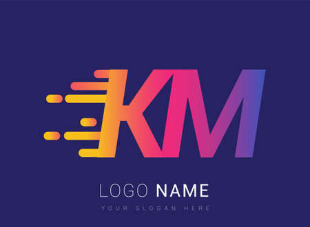 Initial Letter KM speed Logo Design template, logotype company name colored yellow, magenta and blue.for business and company identity. Logo