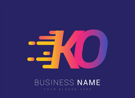Initial Letter KO speed Logo Design template, logotype company name colored yellow, magenta and blue.for business and company identity.