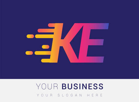 Initial Letter KE speed Logo Design template, logotype company name colored yellow, magenta and blue.for business and company identity. Logo