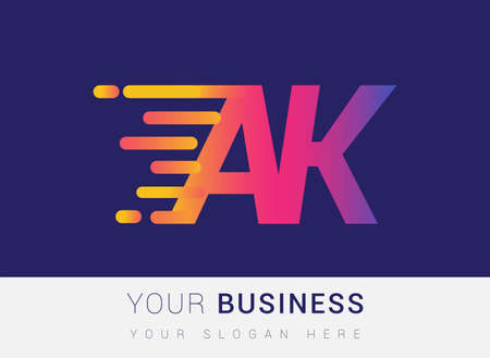 Initial Letter AK speed Logo Design template, logotype company name colored yellow, magenta and blue.for business and company identity. Logo
