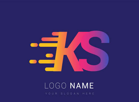 Initial Letter KS speed Logo Design template, logotype company name colored yellow, magenta and blue.for business and company identity.