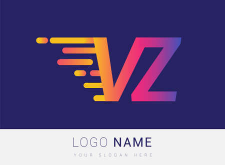 Initial Letter VZ speed Logo Design template, logotype company name colored yellow, magenta and blue.for business and company identity.