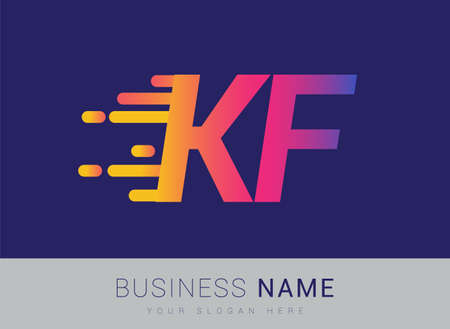 Initial Letter KF speed Logo Design template, logotype company name colored yellow, magenta and blue.for business and company identity. Logo