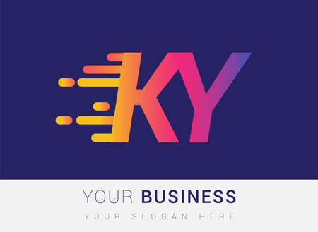 Initial Letter KY speed Logo Design template, logotype company name colored yellow, magenta and blue.for business and company identity. Logo
