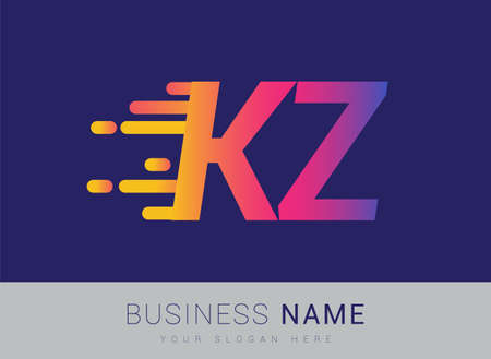 Initial Letter KZ speed Logo Design template, logotype company name colored yellow, magenta and blue.for business and company identity.