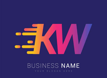 Initial Letter KW speed Logo Design template, logotype company name colored yellow, magenta and blue.for business and company identity.