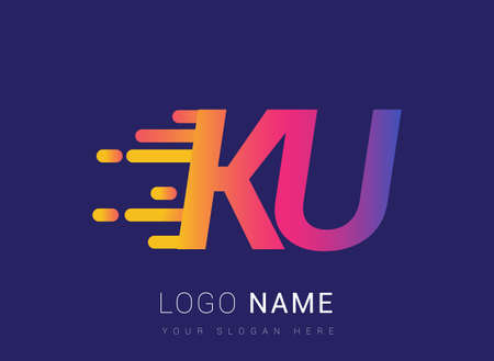 Initial Letter KU speed Logo Design template, logotype company name colored yellow, magenta and blue.for business and company identity.