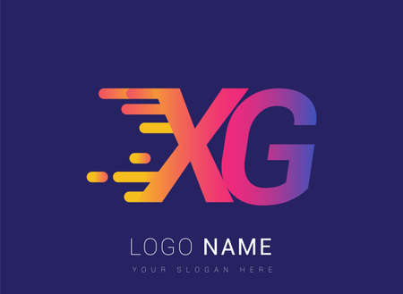Initial Letter XG speed Logo Design template, logotype company name colored yellow, magenta and blue.for business and company identity.