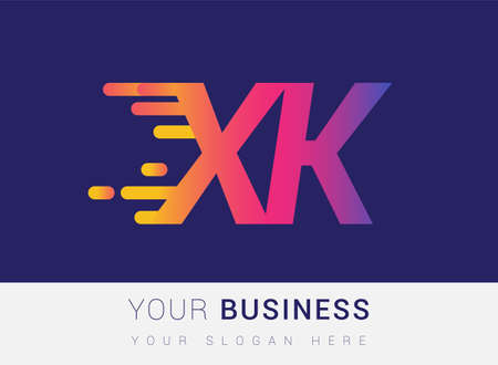 Initial Letter XK speed Logo Design template, logotype company name colored yellow, magenta and blue.for business and company identity.