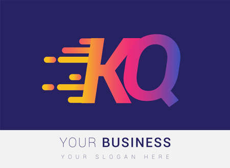 Initial Letter KQ speed Logo Design template, logotype company name colored yellow, magenta and blue.for business and company identity.