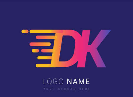 Initial Letter DK speed Logo Design template, logotype company name colored yellow, magenta and blue.for business and company identity.
