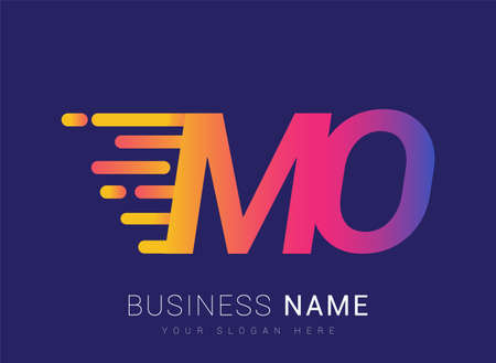 Initial Letter MO speed Logo Design template, logotype company name colored yellow, magenta and blue.for business and company identity.