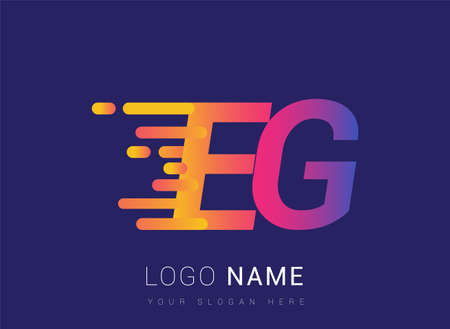 Initial Letter EG speed Logo Design template, logotype company name colored yellow, magenta and blue.for business and company identity.