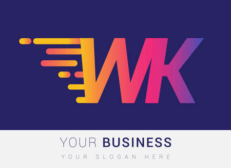 Initial Letter WK speed Logo Design template, logotype company name colored yellow, magenta and blue.for business and company identity.