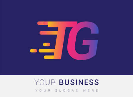 Initial Letter TG speed Logo Design template, logotype company name colored yellow, magenta and blue.for business and company identity. Logó