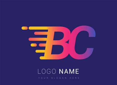 Initial Letter BC speed Design template, company name colored yellow, magenta and blue. For business and company identity.
