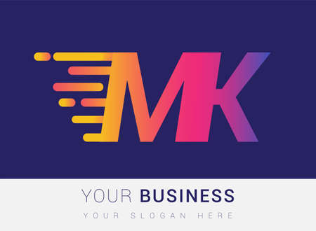 Initial Letter MK speed Design template, company name colored yellow, magenta and blue. For business and company identity.
