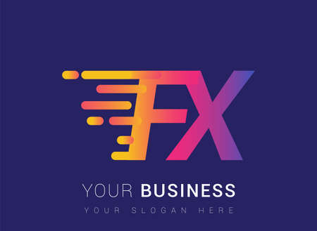 Initial Letter FX speed Design template, company name colored yellow, magenta and blue. For business and company identity.