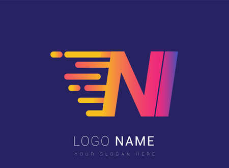 Initial Letter NI speed Design template, company name colored yellow, magenta and blue. for business and company identity. Vektoros illusztráció