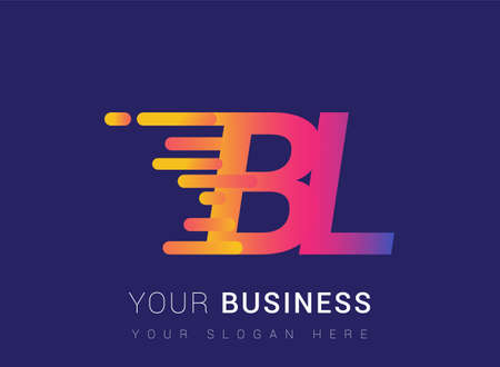 Initial Letter BL speed Design template, company name colored yellow, magenta and blue. for business and company identity.