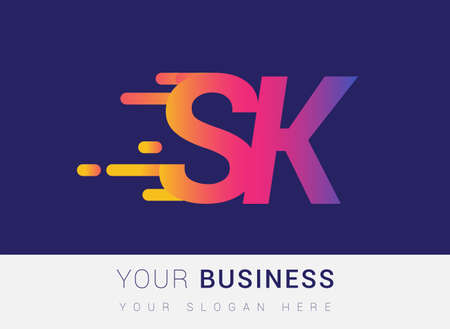Initial Letter SK speed Logo Design template, logotype company name colored yellow, magenta and blue.for business and company identity. Logo