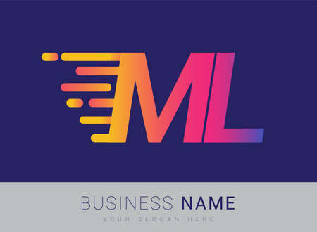 Initial Letter ML speed Logo Design template, logotype company name colored yellow, magenta and blue.for business and company identity.