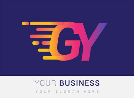 Initial Letter GY speed Logo Design template, logotype company name colored yellow, magenta and blue.for business and company identity.