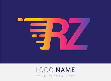 Initial Letter RZ speed Logo Design template, logotype company name colored yellow, magenta and blue.for business and company identity. Logó