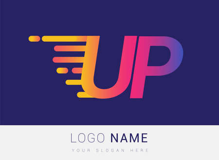 Initial Letter UP speed Design template, company name colored yellow, magenta and blue.for business and company identity. 向量圖像