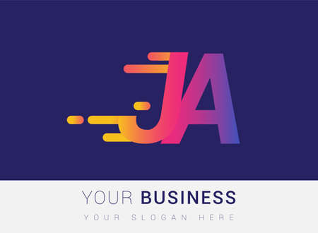 Initial Letter JA speed Design template, company name colored yellow, magenta and blue.for business and company identity.