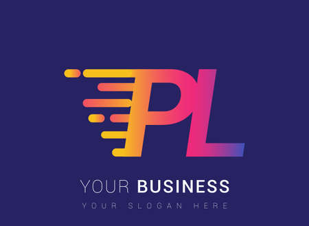 Initial Letter PL speed Design template, company name colored yellow, magenta and blue.for business and company identity. 向量圖像