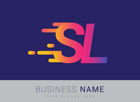 Initial Letter SL speed Design template, company name colored yellow, magenta and blue.for business and company identity.