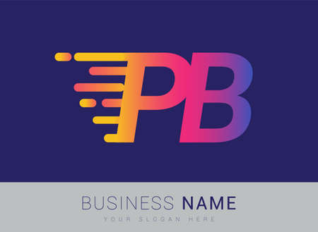 Initial Letter PB speed Design template, company name colored yellow, magenta and blue.for business and company identity. 向量圖像