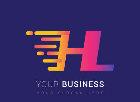 Initial Letter HL speed Design template, company name colored yellow, magenta and blue.for business and company identity.