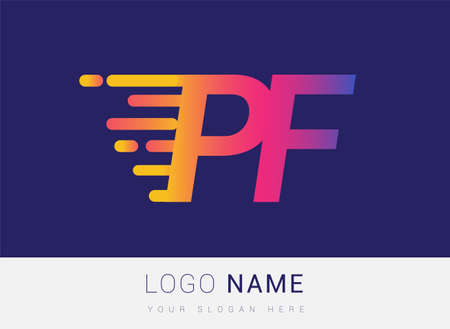 Initial Letter PF speed Design template, company name colored yellow, magenta and blue.for business and company identity. 向量圖像