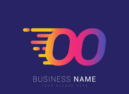 Initial Letter OO speed Design template, company name colored yellow, magenta and blue.for business and company identity.