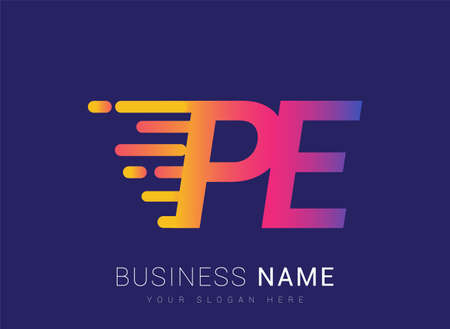 Initial Letter PE speed Design template, company name colored yellow, magenta and blue.for business and company identity.