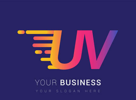 Initial Letter UV speed Design template, company name colored yellow, magenta and blue.for business and company identity.