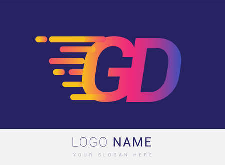 Initial Letter GD speed Design template, company name colored yellow, magenta and blue.for business and company identity.