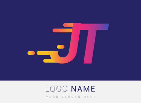 Initial Letter JT speed Design template, company name colored yellow, magenta and blue.for business and company identity.