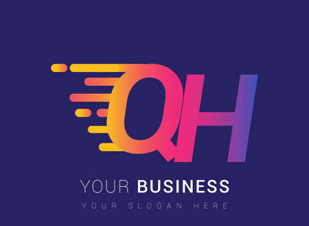 Initial Letter QH speed Design template, company name colored yellow, magenta and blue.for business and company identity.