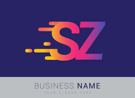 Initial Letter SZ speed Design template, company name colored yellow, magenta and blue.for business and company identity.