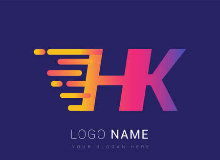 Initial Letter HK speed Design template, company name colored yellow, magenta and blue.for business and company identity.
