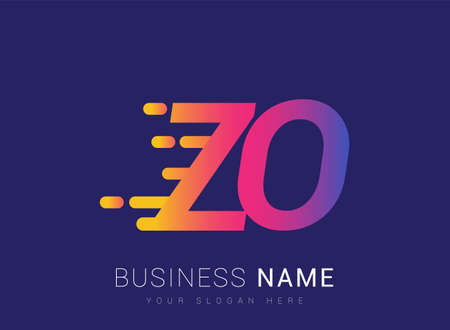 Initial Letter ZO speed Design template, company name colored yellow, magenta and blue.for business and company identity.