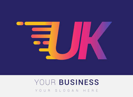 Initial Letter UK speed Logo Design template, logotype company name colored yellow, magenta and blue.for business and company identity. Logo