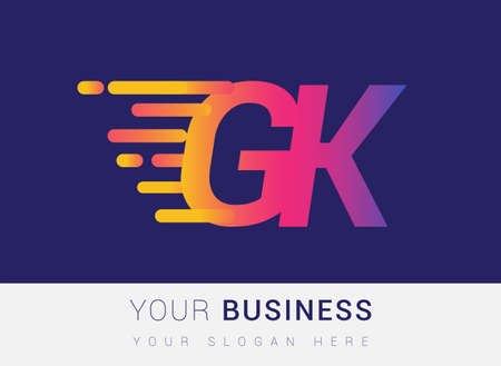 Initial Letter GK speed Logo Design template, logotype company name colored yellow, magenta and blue.for business and company identity. Logo