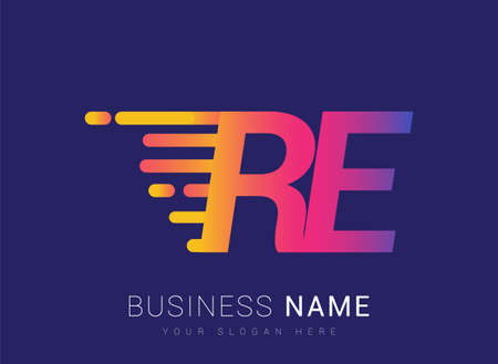 Initial Letter RE speed Logo Design template, logotype company name colored yellow, magenta and blue.for business and company identity.