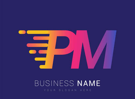Initial Letter PM speed Design template, company name colored yellow, magenta and blue.for business and company identity. 向量圖像
