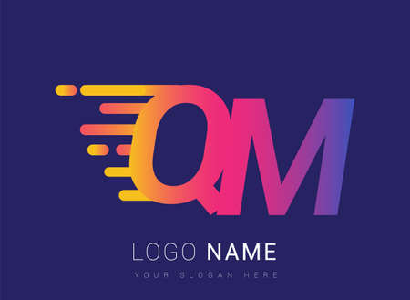 Initial Letter QM speed Design template, company name colored yellow, magenta and blue.for business and company identity.